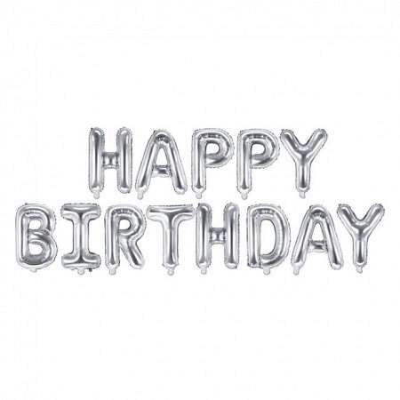 Ballon Buchstabengirlande Happy Birthday Silber 35 cm