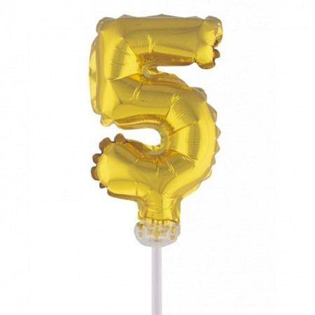 Kuchen Topper Folienballon Zahl 5 Gold