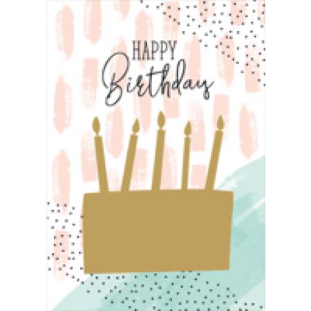 Geburtstagskarte Happy Birthday Rubbelkarte Torte mit Kerzen