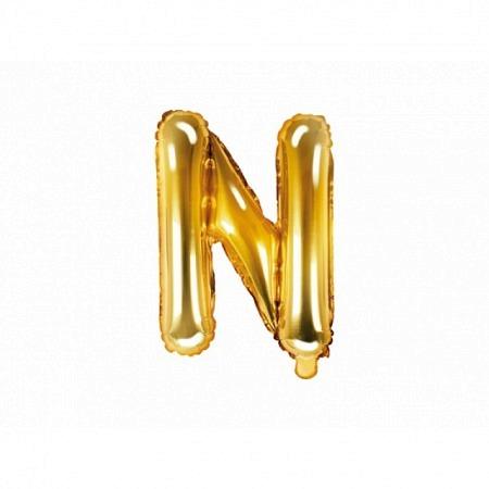 Buchstabe Folienballon N Gold 35-40 cm