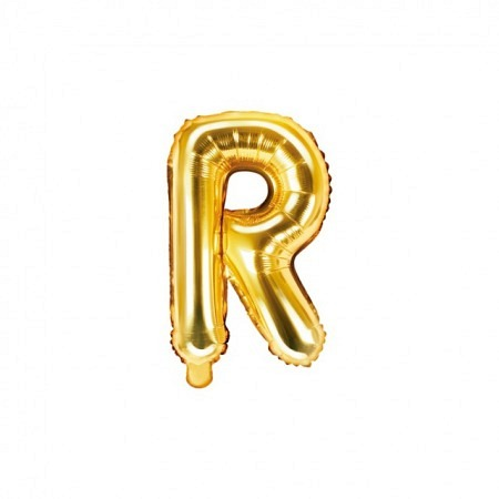 Buchstabe Folienballon R Gold 35-40 cm
