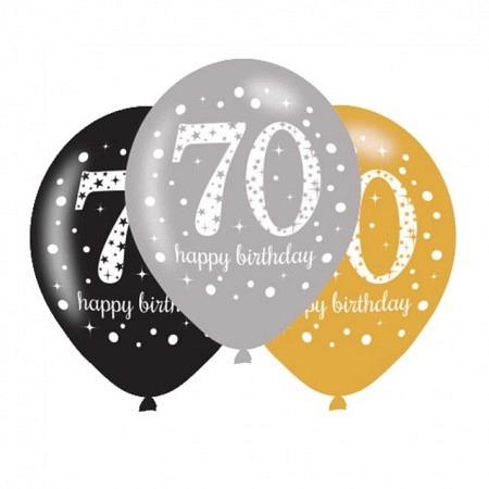 Latexballons 70. Geburtstag Sparkling