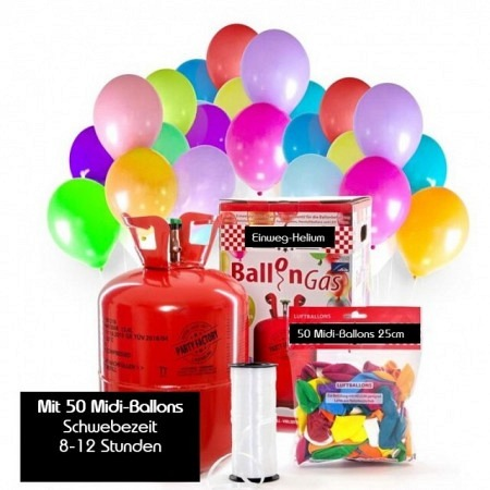 Luftballon-AKTIONS-Set Bunt 50 Midi-Ballons & Einweg-Helium