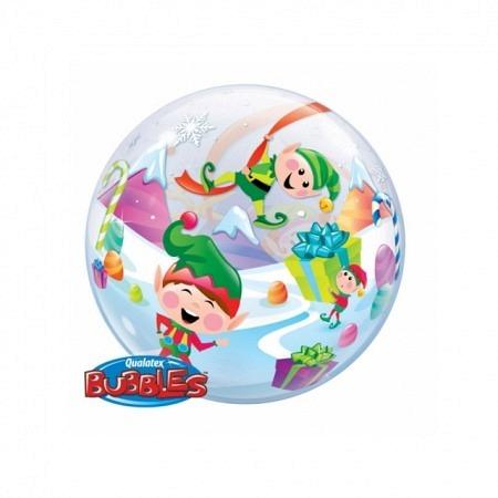 Single Bubble Ballon Merry Elves