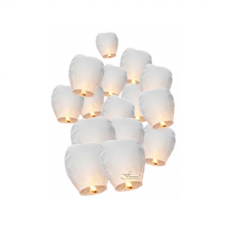 Himmelslaterne Öko Flammea Compact Weiss 15er Set